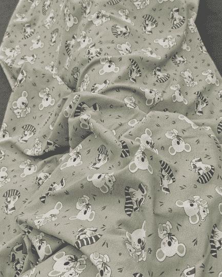 tissu jersey de coton koala ton vert romarin