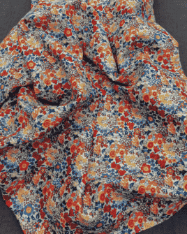 Tissu Liberty Bleu Rouge Orange Jaune (Qualité Liberty)