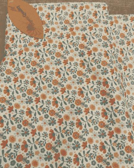 tissu coton bio fleur camel et bleu 3