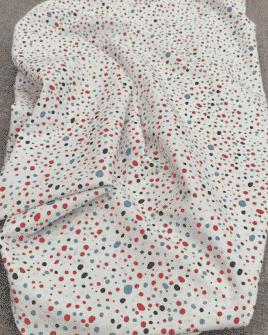 Tissu Coton Pois Bleu Blanc Rouge