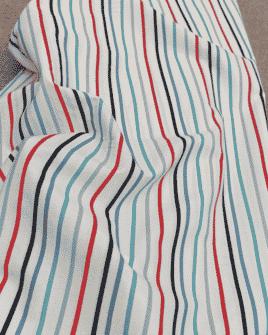 Tissu Coton Rayures Bleu Blanc Rouge
