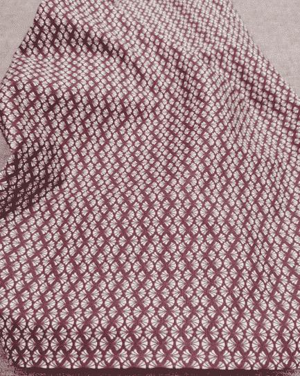 tissu coton éventail bordeaux