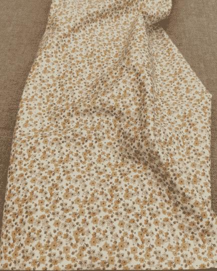 tissu coton fleur beige gots