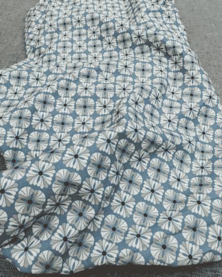tissu coton grande fleur bleu