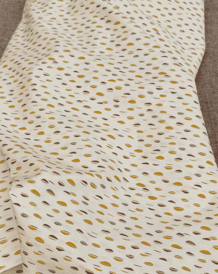 tissu coton petit motif moutarde gots