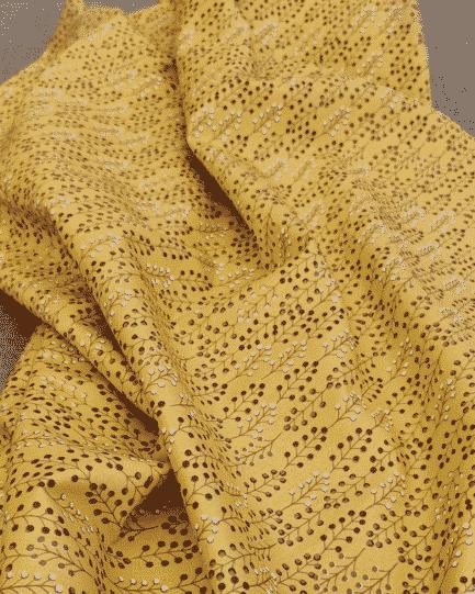 tissu feuillage fond moutarde