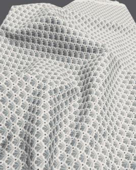 Tissu Coton Éventail Blanc et Bleu