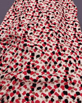 Tissu Viscose Motif Tâche Rose Poudré Rouge Noir
