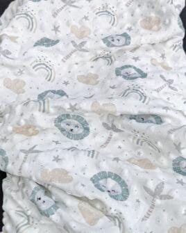 Tissu Minky Imprimé Enfant Vert d'Eau